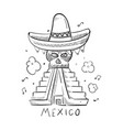 hand drawn mexico style print design vector image vector image