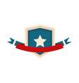 happy independence day shield star emblem ribbon vector image vector image