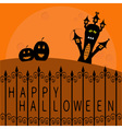 Haunted house pumpkins and big moon Wrought iron vector image vector image