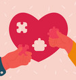 heart shaped puzzle with man and woman hands vector image vector image