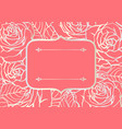 invitation card with outline roses beautiful vector image vector image