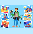 journalist freelancer with tripod near pictures vector image vector image