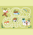 kids maze game with cute frogs in nature childish vector image