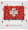 large group people in shape swiss flag vector image
