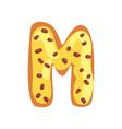 m letter in shape sweet glazed cookie vector image