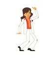 man dancing disco in flat vector image vector image