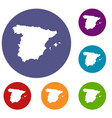 map of spain icons set vector image vector image
