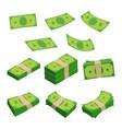 monetary denomination different stacks money vector image vector image