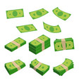 monetary denomination different stacks of money vector image