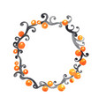 orange ball with halloween ivy wreath watercolor vector image vector image