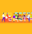 people customers with trolley carts standing line vector image