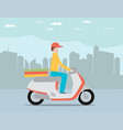 pizza delivery by courier on scooter in the city vector image vector image