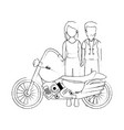 rough motorcyclist couple avatar character vector image