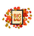 sales tablet with autumn leaves isolated on white vector image vector image