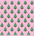 seamless pattern christmas tree pine star vector image vector image