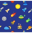 Seamless space pattern Planets rockets and vector image