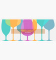 set different wine glasses for festival vector image vector image