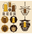 set of beer labels with mugs and hops vector image vector image