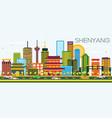shenyang skyline with color buildings and blue sky vector image vector image