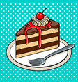 slice of cake on plate pop art vector image vector image