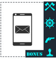 smartphone email or sms icon flat vector image