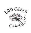 t-shirt print bad girls club with lips pink vector image vector image