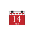 valentines calendar flat icon valentines day vector image