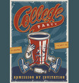 vintage college party advertising colorful poster vector image