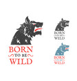 vintage emblem with angry wolf vector image vector image