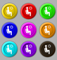 waiting icon sign symbol on nine round colourful vector image