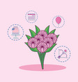 wedding card with bouquet of flowers vector image