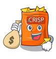 with money bag snack food sticks chisp on cartoon vector image
