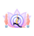 woman doing yoga in warrior one pose vector image