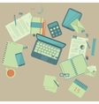 Work table with different things vector image vector image