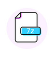 7z file format extension color line icon vector image vector image