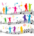 abstract music note with silhouettes of kids vector image vector image