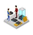 administrators installing hardware in rack server vector image