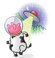 alien cow cartoon character vector image vector image