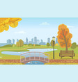 autumn city park with pond and ducks under bridge vector image