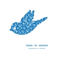 blue white lineart plants bird silhouette pattern vector image