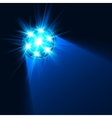 Bright blue flashlight light in darkness vector image