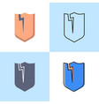broken shield icon set in flat and line styles vector image