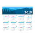 calendar 2019 template week starts on vector image