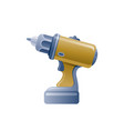 cartoon drill icon 3d realistic repair tool vector image
