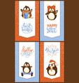 christmas and new year cards with funny penguins vector image vector image