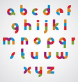 Colorful sectored font with rounded lower case vector image