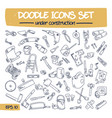 doodle icons set - under construction vector image