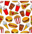 fast food seamless pattern with burgers and drinks vector image