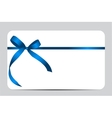 Gift Card with Blue Ribbon and Bow vector image vector image