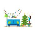 girl decorates xmas tree festive toys garlands vector image vector image